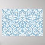 Blue fancy damask pattern poster