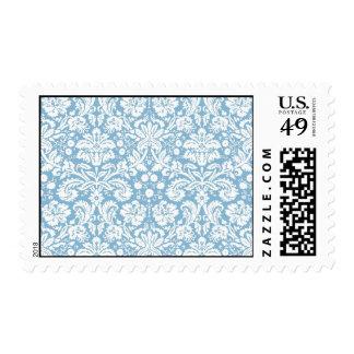 Blue fancy damask pattern stamp