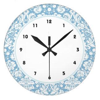 Blue fancy damask pattern wall clock
