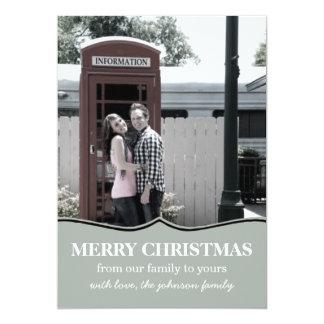 Blue Fancy Design Christmas Photo Flat Cards