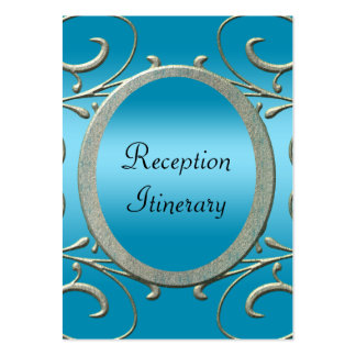 Blue & Fancy Metallic Silver Scrolls Wedding Large Business Cards (Pack Of 100)