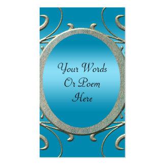 Blue & Fancy Metallic Silver Scrolls Wedding Double-Sided Standard Business Cards (Pack Of 100)