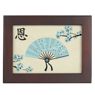 """Blue fans and blossom """"Grace"""" Memory Box"""