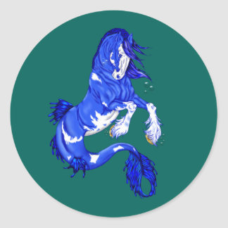 Blue Fantasy Clydesdale Seahorse Classic Round Sticker