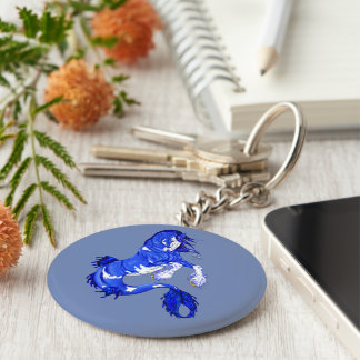 Blue Fantasy Clydesdale Seahorse Keychain