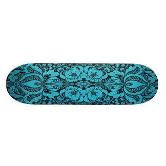 Blue Fantasy Floral Skateboard