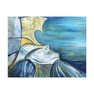 "Blue Fantasy Mermaid Goddess Portrait 1.5"" Thick Stretched Canvas Print"