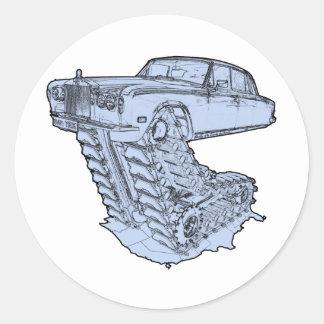 Blue Fantasy Rolls Royce Round Sticker