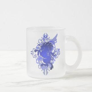 Blue Fantasy Unicorn Frosted Monogram Mug