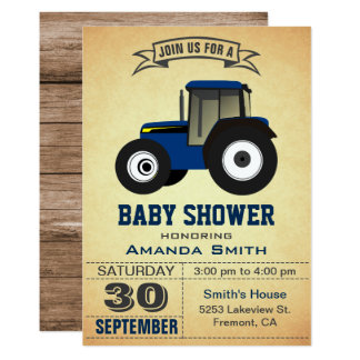 Blue Farm Tractor Baby Shower Invitation