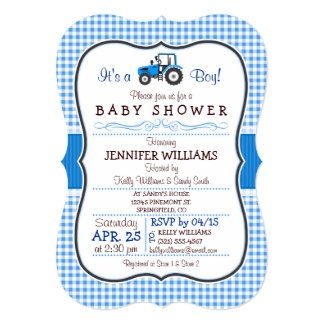 Blue Farm Tractor Boy Baby Shower Invitation