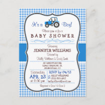 Blue Farm Tractor Boy Baby Shower Invitation