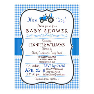 Blue Farm Tractor Boy Baby Shower Invitation Postcard