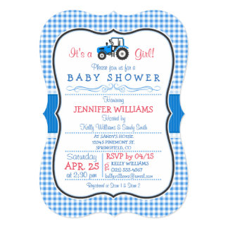 Blue Farm Tractor, Country Girl Baby Shower Invitation