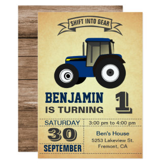 Blue Farm Tractor First Birthday Party Invitation