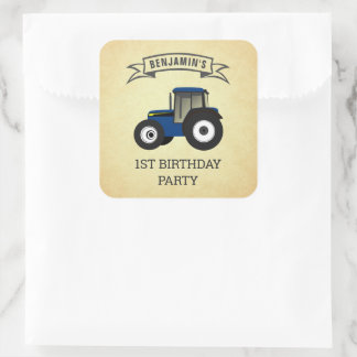 Blue Farm Tractor Kids Birthday Party Square Sticker