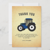 Blue Farm Tractor Kids Birthday Party Thank You Card
