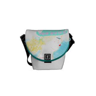 Blue. Fashion girl illustration handbag. Messenger Bag