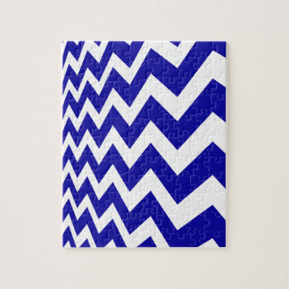 Blue Fast Lane Chevrons Jigsaw Puzzle