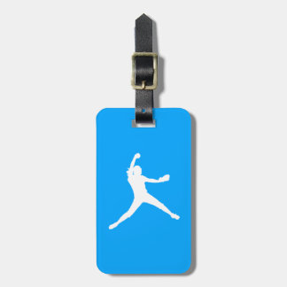 Blue Fastpitch Silhouette Luggage Tag