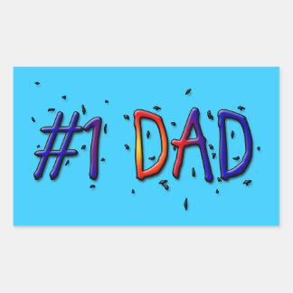 Blue Father's Day #1 Dad Rectangular Sticker
