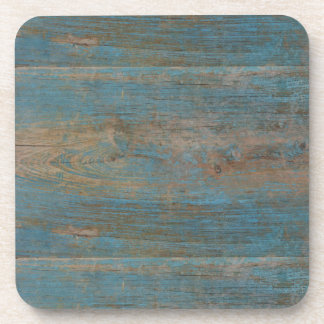 Blue Faux Beach Wood Texture Beverage Coaster