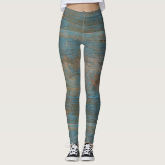 Blue Faux Beach Wood Texture Leggings