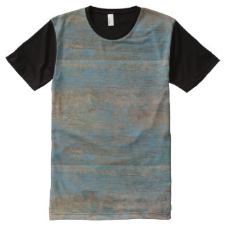 Blue Faux Beach Wood Texture Panel T-Shirt