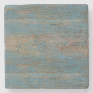 Blue Faux Beach Wood Texture Stone Coaster