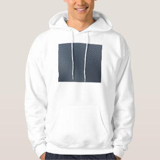 Blue Faux Carbon Fiber Patterned Hooded Pullover
