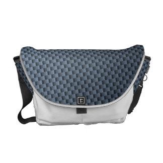 Blue Faux Carbon Fiber Patterned Messenger Bag