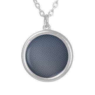 Blue Faux Carbon Fiber Patterned Round Pendant Necklace