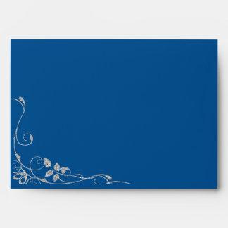 Blue Faux Diamond Heart Swirl Invitation Envelope