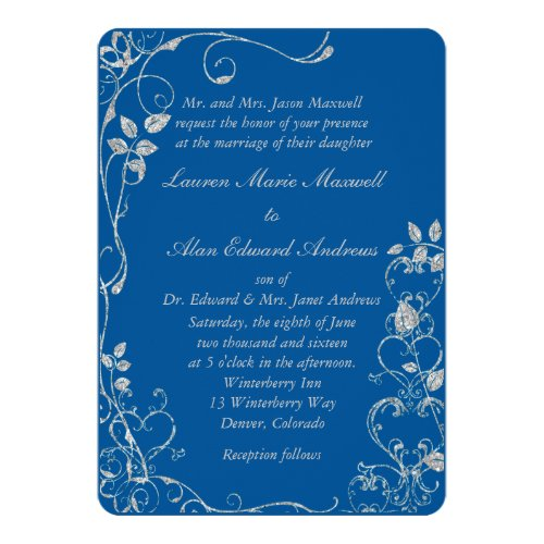 Blue Faux Diamond Heart Swirl Wedding Invitation