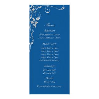 Blue Faux Diamond Heart Swirl Wedding Menu Customized Rack Card