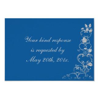 Blue Faux Diamond Heart Swirl Wedding RSVP Card