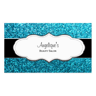 Blue Faux Glitter Business Cards