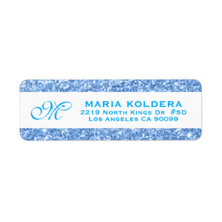 Blue Faux Glitter Custom Monogram Label