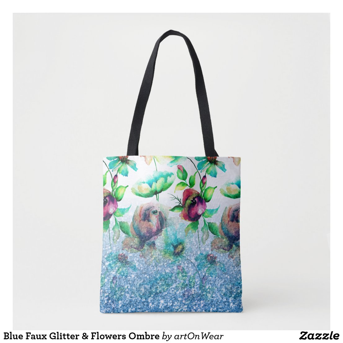 Blue Faux Glitter & Flowers Ombre Tote Bag