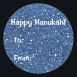 "Blue (faux) Glitter Hanukkah Gift Stickers<br><div class=""desc"">Questions? Regella@Rocketmail.com</div>"