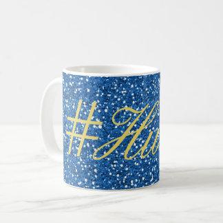 Blue Faux Glitter Hustle Design Coffee Mug