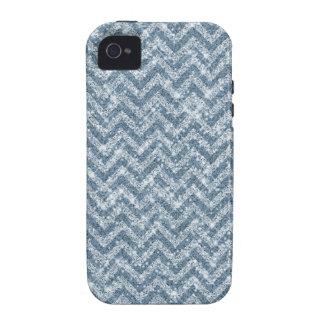 Blue Faux Glitter Sparkle Chevron iPhone 4 Case