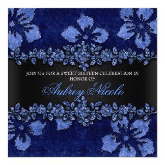 Blue Faux Glitter & Velvet Floral Sweet Sixteen 5.25x5.25 Square Paper Invitation Card