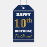 [ Thumbnail: Blue, Faux Gold 10th Birthday + Custom Name Gift Tags ]