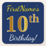 [ Thumbnail: Blue, Faux Gold 10th Birthday + Custom Name Paper Coaster ]