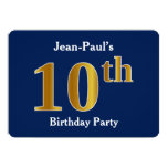 [ Thumbnail: Blue, Faux Gold 10th Birthday Party + Custom Name Invitation ]