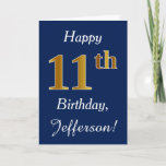 [ Thumbnail: Blue, Faux Gold 11th Birthday + Custom Name Card ]