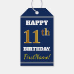 [ Thumbnail: Blue, Faux Gold 11th Birthday + Custom Name Gift Tags ]