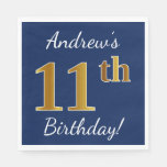 [ Thumbnail: Blue, Faux Gold 11th Birthday + Custom Name Paper Napkin ]