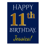 [ Thumbnail: Blue, Faux Gold 11th Birthday + Custom Name Postcard ]